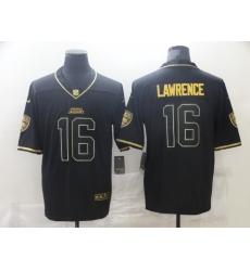 Men's Jacksonville Jaguars #16 Trevor Lawrence Black Gold Nike Teal Limited Jersey