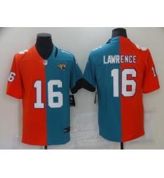 Men's Jacksonville Jaguars #16 Trevor Lawrence Green-Orange Split Fashion Football Limited Jersey