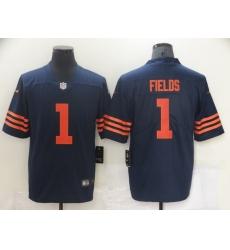 Men's Chicago Bears #1 Justin Fields Nike Navy 2021 Draft First Round Pick Alternate Limited Jersey