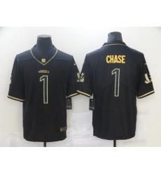 Men's Cincinnati Bengals #1 Ja'Marr Chase Nike Black Gold 2021 NFL Draft First Round Pick Limited Jersey