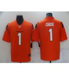 Men's Cincinnati Bengals #1 Ja'Marr Chase Nike Orange 2021 NFL Draft First Round Pick Limited Jersey