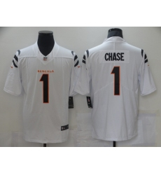 Men's Cincinnati Bengals #1 Ja'Marr Chase Nike White 2021 NFL Draft First Round Pick Limited Jersey