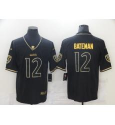 Men's Baltimore Ravens #12 Rashod Bateman Nike Black Gold Throwback 2021 Leopard Jersey