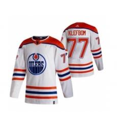 Men's Edmonton Oilers #77 Oscar Klefblom White 2020-21 Reverse Retro Alternate Hockey Jersey