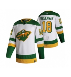 Men's Minnesota Wild #18 Jordan Greenway White 2020-21 Reverse Retro Alternate Hockey Jersey