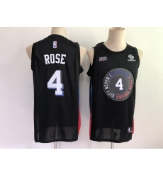 Men's New York Knicks #4 Derrick Rose Black City 2020-21 Stitched Basketball Jersey