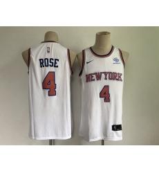 Men's New York Knicks #4 Derrick Rose White Stitched Basketball Jersey
