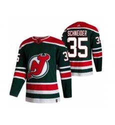 Men's New Jersey Devils #35 Corey Schneider Green 2020-21 Reverse Retro Alternate Hockey Jersey