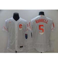 Men's San Francisco Giants #5 Pat Burrell Nike White 2021 City Connect Replica Player Jersey