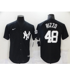 Men's New York Yankees #48 Anthony Rizzo Black Throwback Jersey