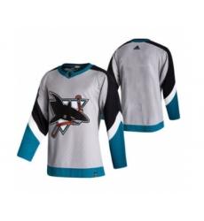 Men's San Jose Sharks Blank Grey 2020-21 Reverse Retro Alternate Hockey Jersey