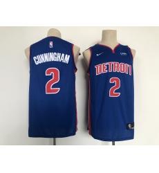 Men's Detroit Pistons #2 Cade Cunningham Fanatics Branded Blue 2021 Draft First Round Jersey
