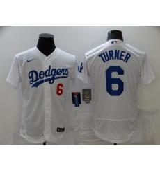 Men's Nike Los Angeles Dodgers #6 Trea Turner White Elite Jersey