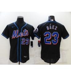 Men's Nike New York Mets #23 Javier Báez Black Elite Authentic Baseball Jersey