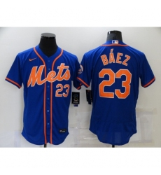 Men's Nike New York Mets #23 Javier Báez Blue Elite Authentic Baseball Jersey