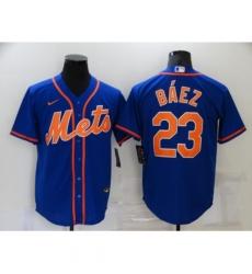 Men's Nike New York Mets #23 Javier Báez Blue Game Authentic Baseball Jersey