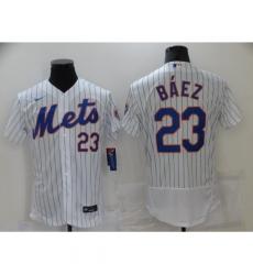 Men's Nike New York Mets #23 Javier Báez White Elite Authentic Baseball Jersey