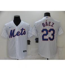 Men's Nike New York Mets #23 Javier Báez White Game Authentic Baseball Jersey