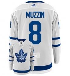 Men's Adidas Toronto Maple Leafs #8 Jake Muzzin White Road Authentic Stitched NHL Jersey