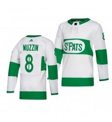 Men's Adidas Toronto Maple Leafs #8 Jake Muzzin adidas White 2019 St. Patrick's Day Authentic Player Stitched NHL Jersey