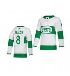 Youth Adidas Toronto Maple Leafs #8 Jake Muzzin White 2019 St. Patrick's Day Authentic Player Stitched NHL Jersey