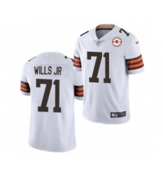 Men's Cleveland Browns #71 Jedrick Wills Jr. 2021 White 75th Anniversary Patch Vapor Untouchable Limited Jersey