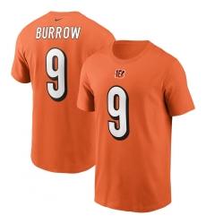 Men's Cincinnati Bengals #9 Joe Burrow Nike Orange Player Name & Number T-Shirt.webp