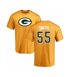 Football Green Bay Packers #55 Za'Darius Smith Gold Name & Number Logo T-Shirt