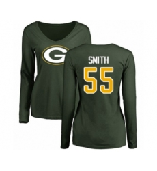 Football Women's Green Bay Packers #55 Za'Darius Smith Green Name & Number Logo Long Sleeve T-Shirt