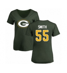 Football Women's Green Bay Packers #55 Za'Darius Smith Green Name & Number Logo T-Shirt