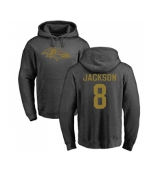 Football Baltimore Ravens #8 Lamar Jackson Ash One Color Pullover Hoodie