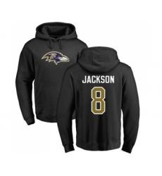 Football Baltimore Ravens #8 Lamar Jackson Black Name & Number Logo Pullover Hoodie