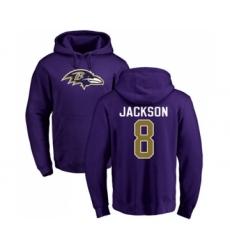 Football Baltimore Ravens #8 Lamar Jackson Purple Name & Number Logo Pullover Hoodie
