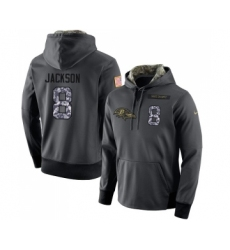 Football Men's Baltimore Ravens #8 Lamar Jackson Stitched Black Anthracite Salute to Service Player Performance Hoodie