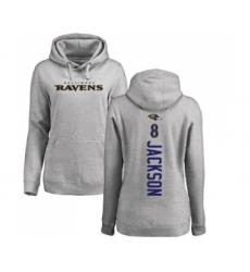 Football Women's Baltimore Ravens #8 Lamar Jackson Ash Backer Pullover Hoodie
