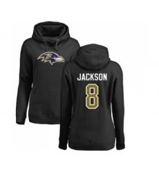 Football Women's Baltimore Ravens #8 Lamar Jackson Black Name & Number Logo Pullover Hoodie