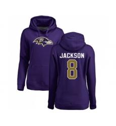 Football Women's Baltimore Ravens #8 Lamar Jackson Purple Name & Number Logo Pullover Hoodie