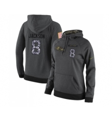 Football Women's Baltimore Ravens #8 Lamar Jackson Stitched Black Anthracite Salute to Service Player Performance Hoodie