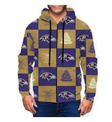 Ravens Team Ugly Christmas Men's Zip Hooded Sweatshirt
