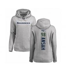 Football Women's Seattle Seahawks #98 Ezekiel Ansah Ash Backer Pullover Hoodie