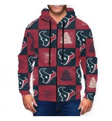 Texans Team Ugly Christmas Men's Zip Hooded Sweatshirt