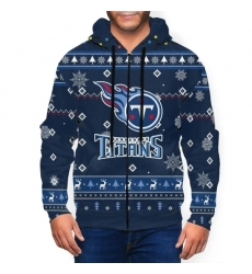 Titans Team Christmas Ugly Men's Zip Hooded Sweatshirt