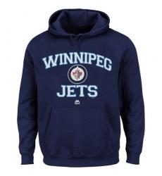 NHL Men's Winnipeg Jets Majestic Heart & Soul Hoodie - Navy Blue