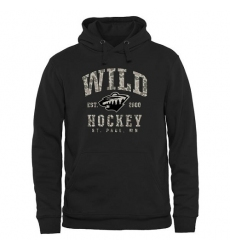 NHL Men's Minnesota Wild Black Camo Stack Pullover Hoodie