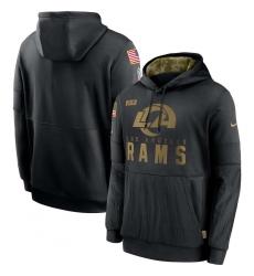 Men's NFL Los Angeles Rams 2020 Salute To Service Black Pullover Hoodie