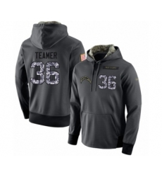 Football Men's Los Angeles Chargers #36 Roderic Teamer Stitched Black Anthracite Salute to Service Player Performance Hoodie