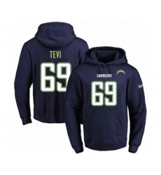 Football Men's Los Angeles Chargers #69 Sam Tevi Navy Blue Name & Number Pullover Hoodie