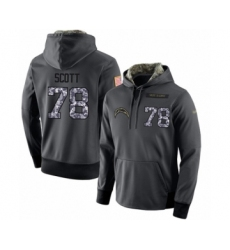 Football Men's Los Angeles Chargers #78 Trent Scott Stitched Black Anthracite Salute to Service Player Performance Hoodie