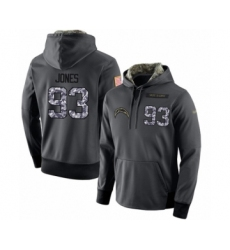 Football Men's Los Angeles Chargers #93 Justin Jones Stitched Black Anthracite Salute to Service Player Performance Hoodie