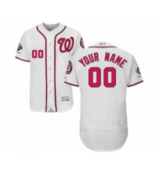Men's Washington Nationals Customized White Home Flex Base Authentic Collection 2019 World Series Champions Baseball Jersey